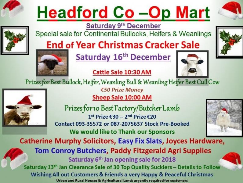 Headford Mart Christmas Cracker Sale 16th Dec